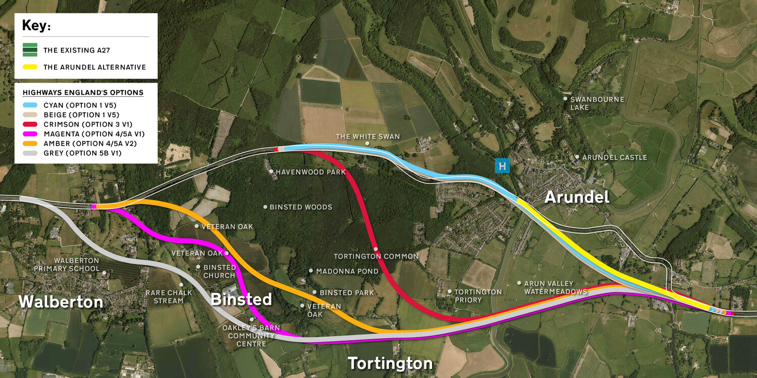 Highways England's six route options with the Arundel Alternative