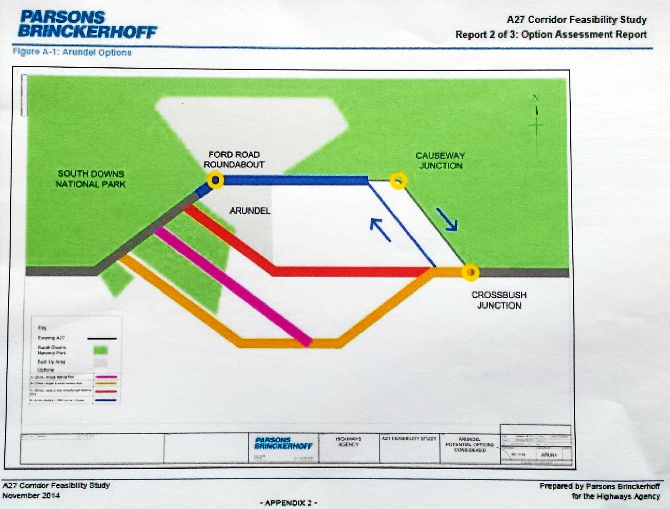 Arundel A27 suggested routes schematic map