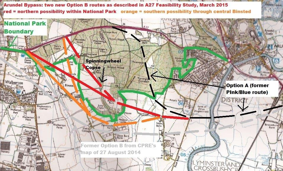 The A27 Feasibility Study Report was published with no clear route for Arundel Bypass Option B - this map shows three possibilities, all more damaging than Option A